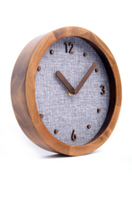 "Load image into Gallery viewer, Driini Burlap Analog Wood Wall Clock (8"") - Battery Operated with Silent Sweep Movement - Decorative, Rustic Wooden Clocks for Bedrooms, Kitchen, Living Room, Office or Classroom"