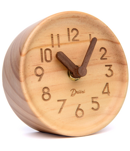 Driini Wooden Desk & Table Analog Clock Made of Genuine Pine (Light) - Battery Operated with Precise Silent Sweep Mechanism