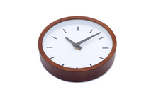"Load image into Gallery viewer, Driini Modern Wood Analog Wall Clock (9"") - Battery Operated with Silent Sweep Movement - Small Decorative Wooden Clocks for Bedrooms, Bathroom, Kitchen, Living Room, Office or Classroom"
