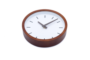 "Driini Modern Wood Analog Wall Clock (9"") - Battery Operated with Silent Sweep Movement - Small Decorative Wooden Clocks for Bedrooms, Bathroom, Kitchen, Living Room, Office or Classroom"