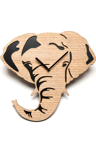 Driini Wooden Elephant Wall Clock Silent Battery Operated Analog