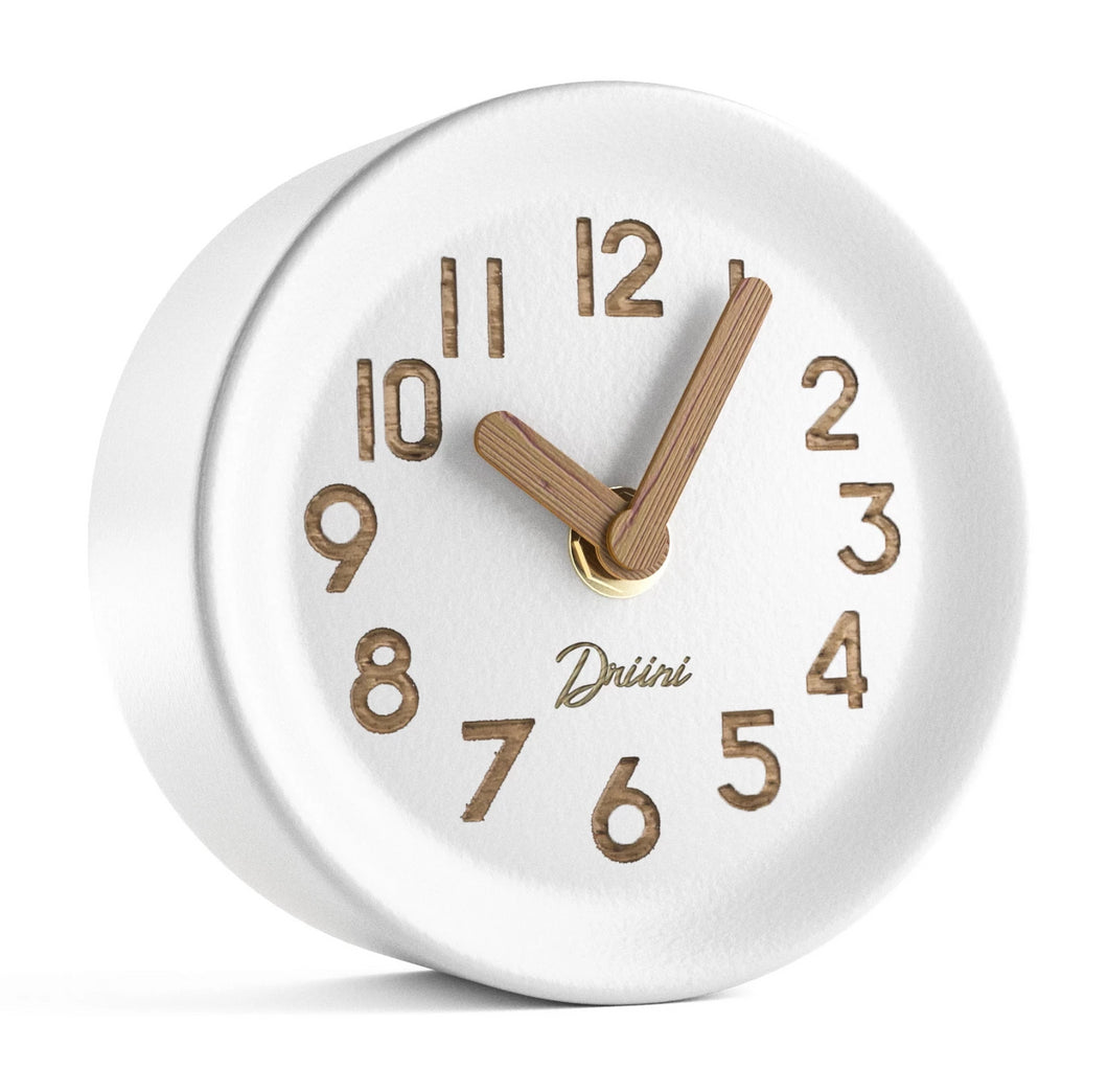 Driini Wooden Desk & Table Analog Clock - Made of Genuine Pine - (White)