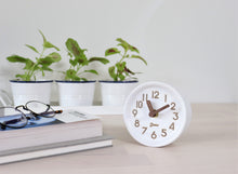 Load image into Gallery viewer, Driini Wooden Desk & Table Analog Clock - Made of Genuine Pine - (White)