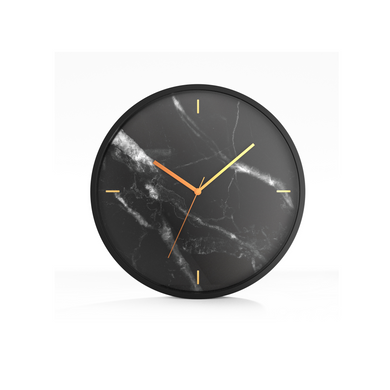 "Driini Marble Analog Wall Clock – Black Aluminum Frame with Gold Hands (12"")"