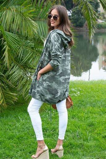 Italiasei Camo Hooded Cardigan
