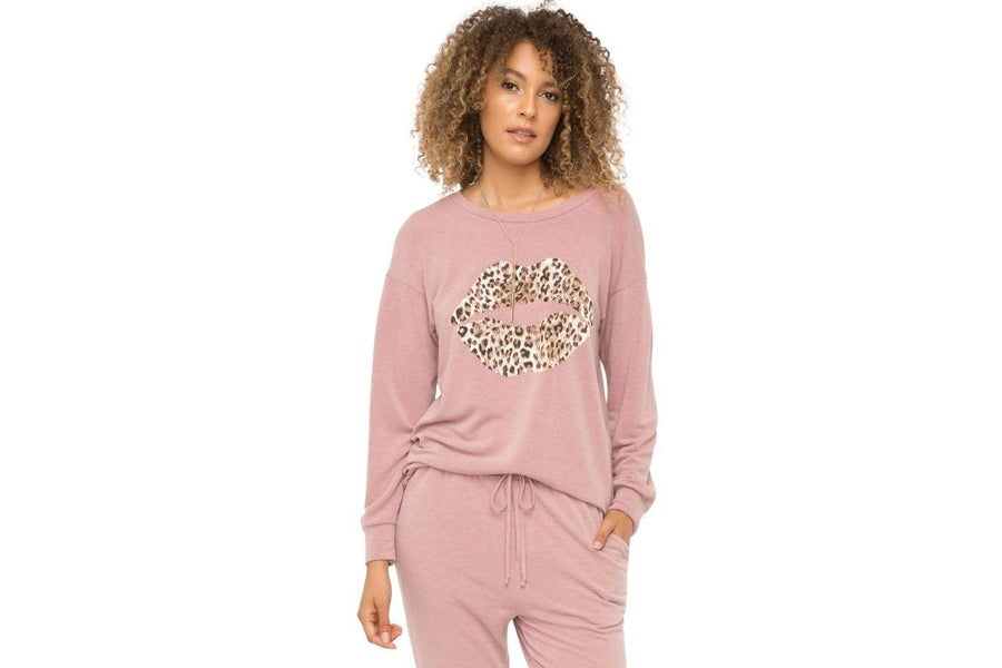 Mystree Printed Sweater in Mauve - Carriage Trade Shop