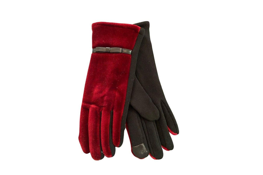 Red Velvet Gloves with Bow