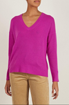 360 Cashmere V-Neck Sweater in Magenta