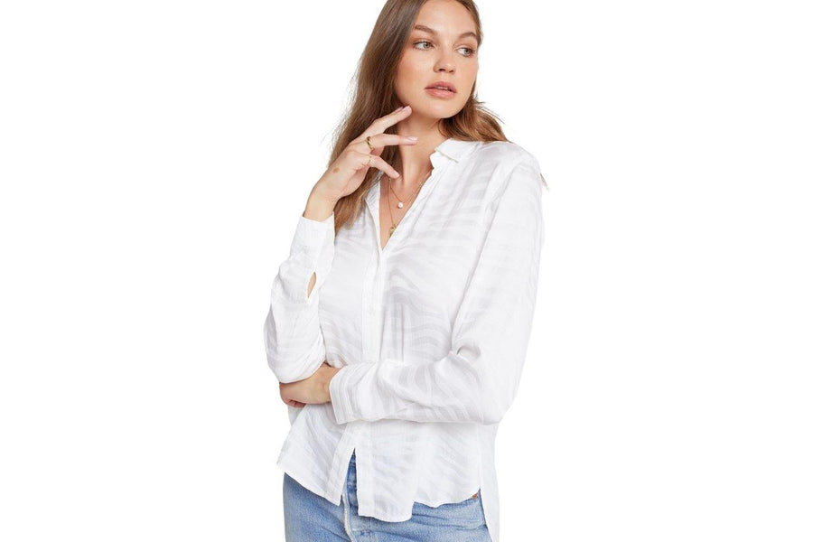 Bella Dahl Long Sleeve Button Down Shirt with a White Zebra Print - Carriage Trade Shop