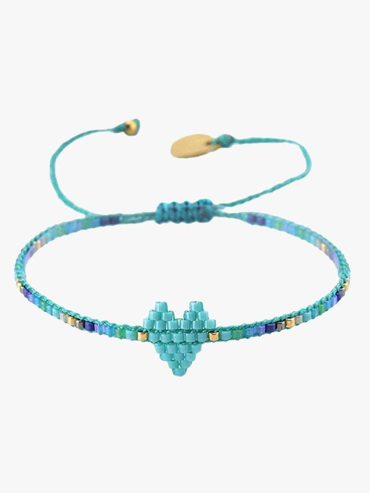 Mishkly Heart Bracelet in Turquoise/Gold