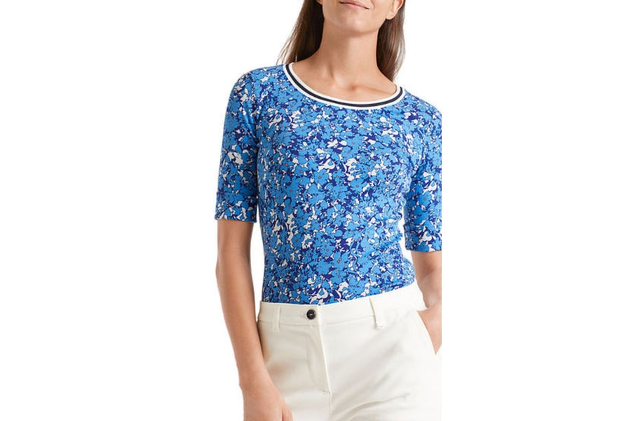 Marc Cain Top with Bloop Print and Striped Neckline