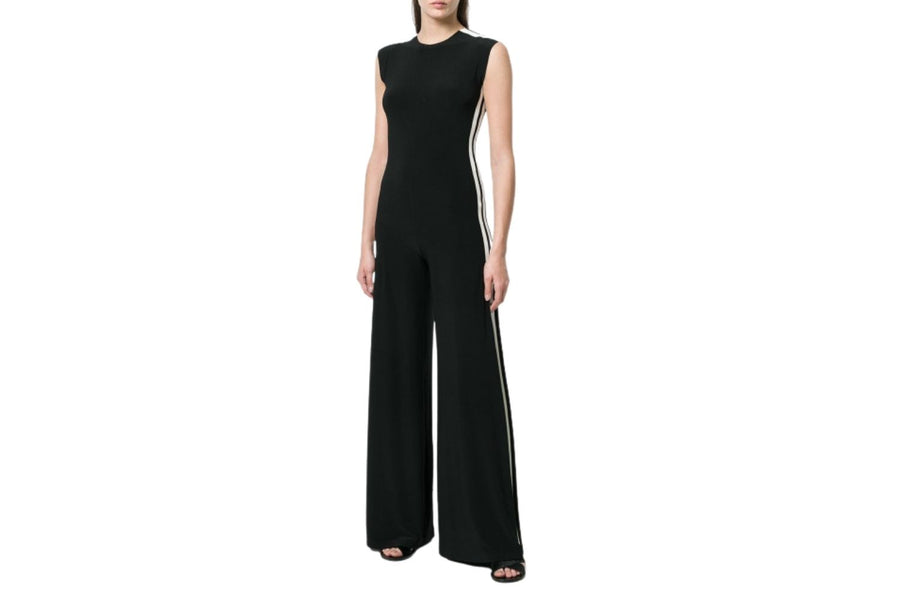 Norma Kamali Side Stripe Sleeveless Jumpsuit