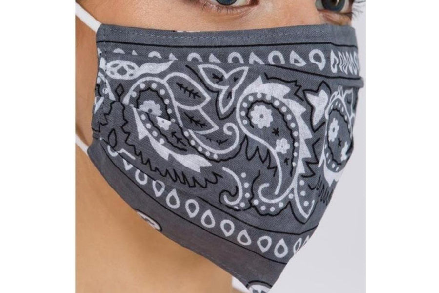 Mask with Bandana Print in Grey