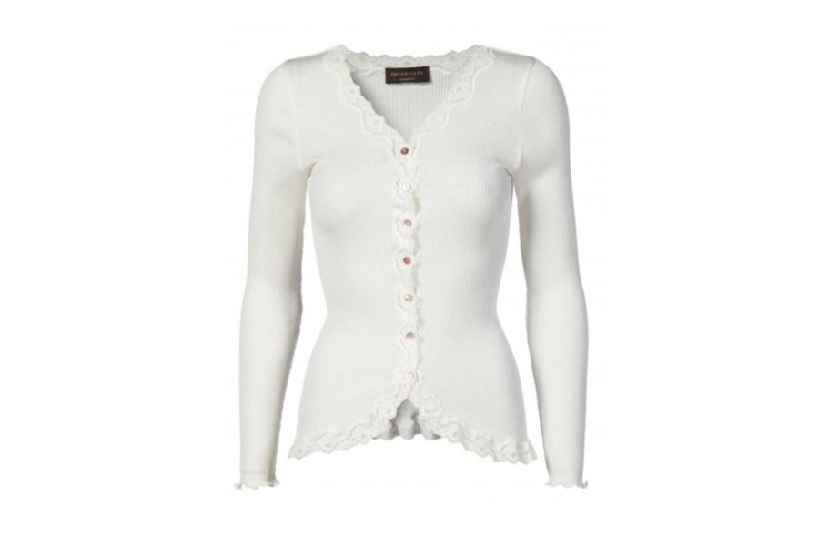 Rosemunde Vintage Lace and Silk Cardigan in White