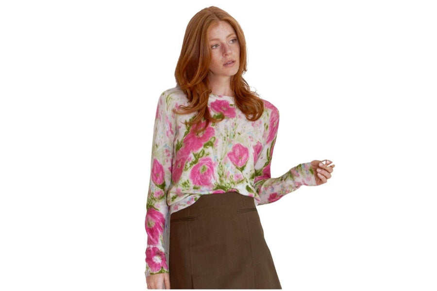 Autumn Cashmere Vintage Floral Crew in Pink - Carriage Trade Shop