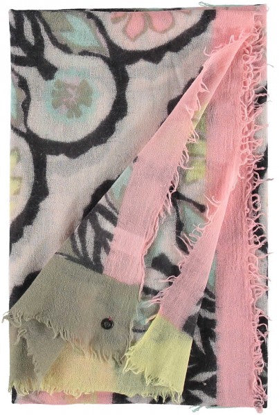 Fraas Graphic Print Wool Scarf in Pink