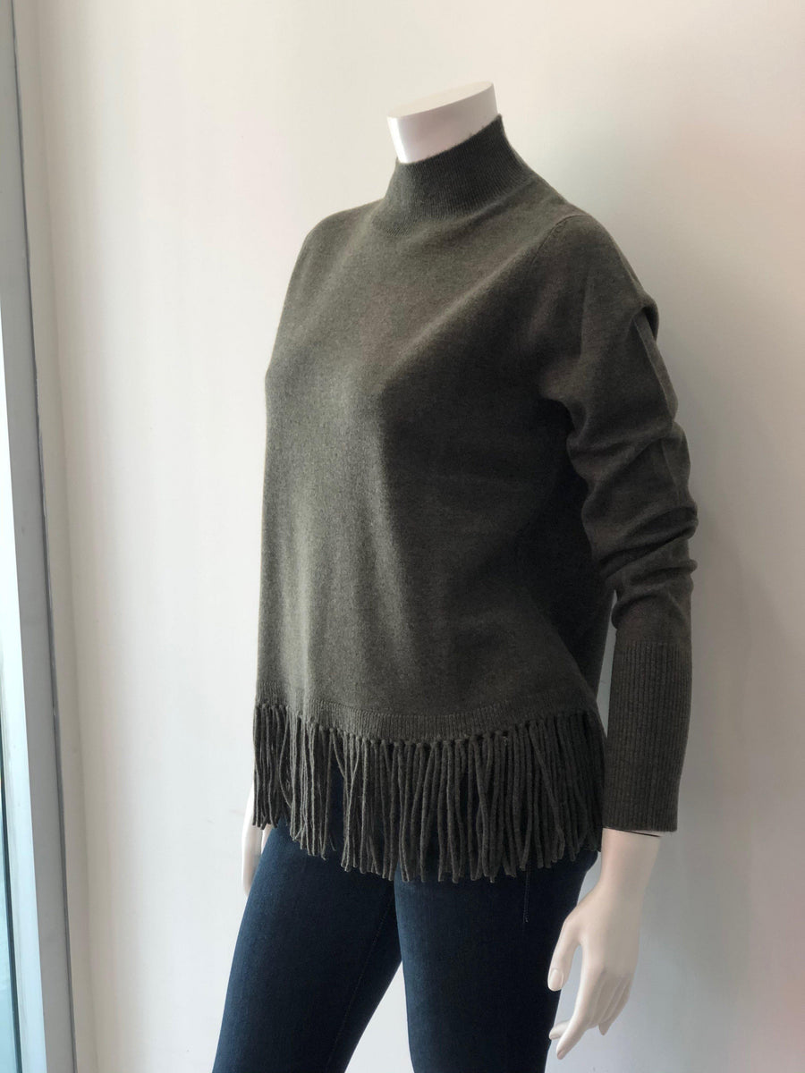 Repeat Cashmere Sweater in Khaki Green with Fringe Detail