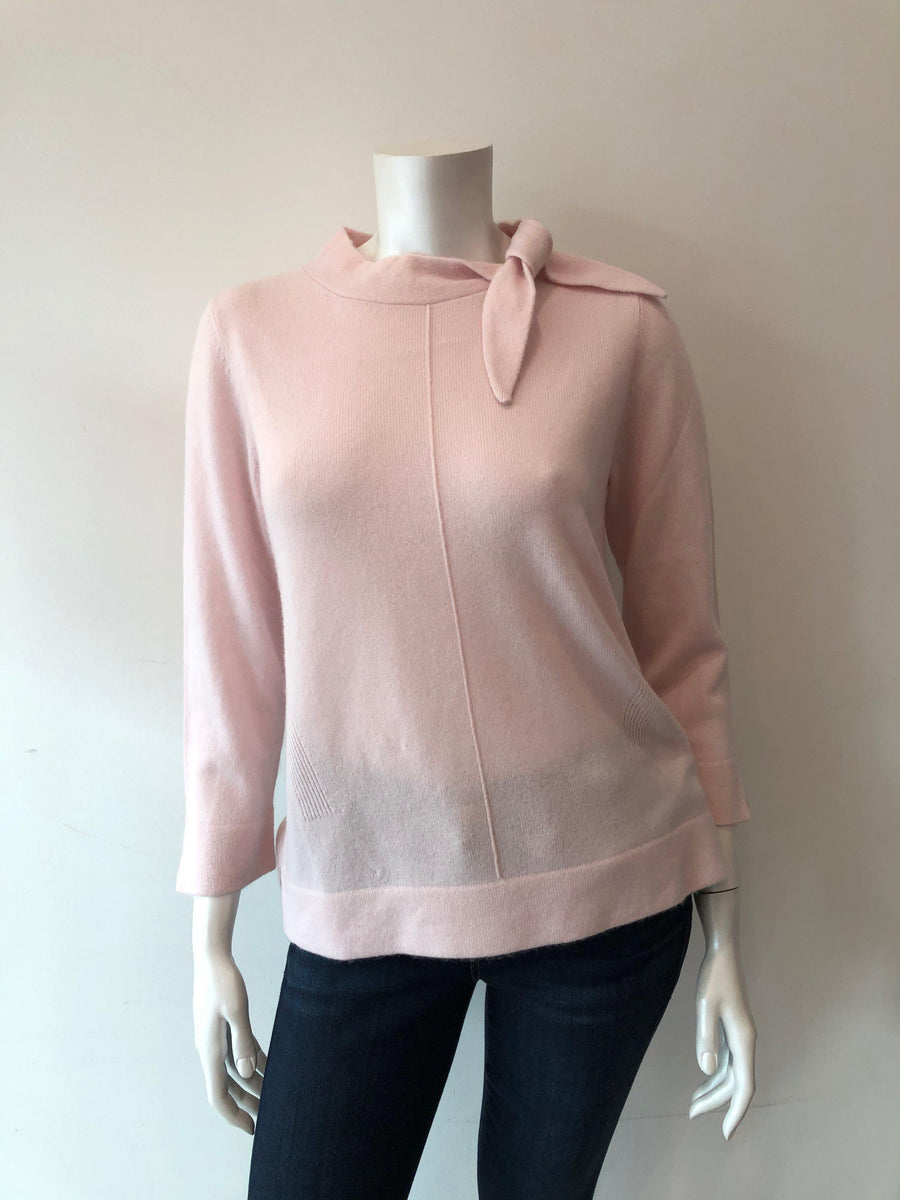 Repeat Cashmere Sweater in Pink with Tie Bow