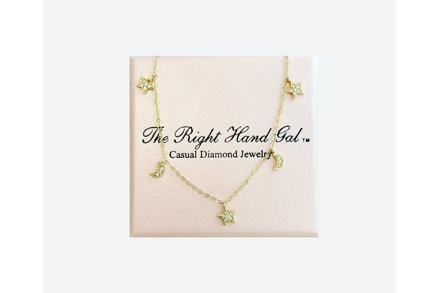 The Right Hand Gal Moon & Stars Necklace