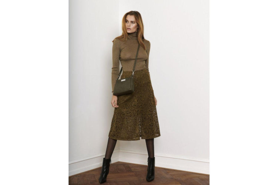 Rosemunde Long Sleeve Turtleneck in Olive Shine