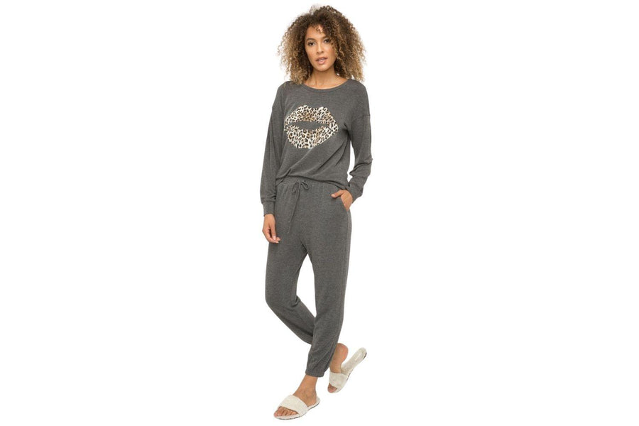 Mystree Printed Sweater in Charcoal Grey - Carriage Trade Shop