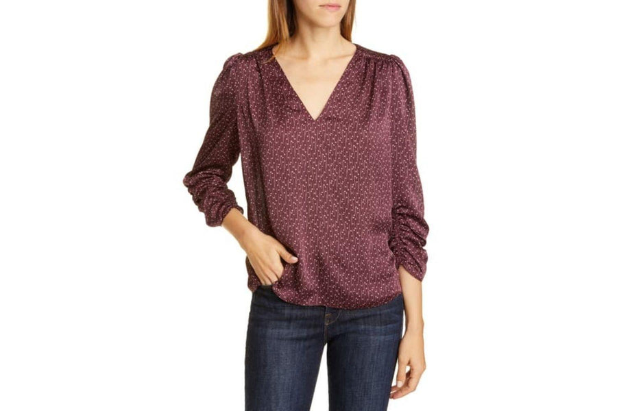 Joie Maizie Ruched 3/4 Sleeve Satin Top - Carriage Trade Shop