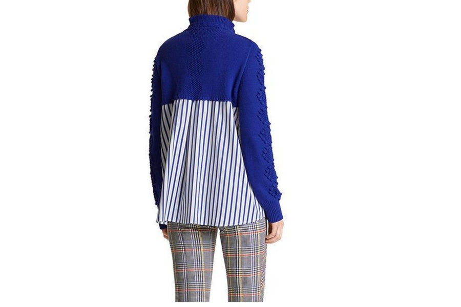 Marc Cain Cable Sweater with Blouse Stripes