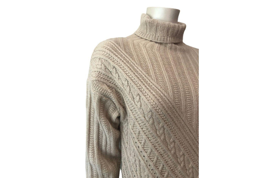 Autumn Cashmere Asymmetric Cable Knit Funnel Neck Sweater