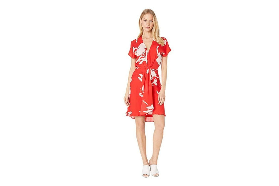 Joie Ashleena Silk Dress in Tropic Red - One Left - Size 4