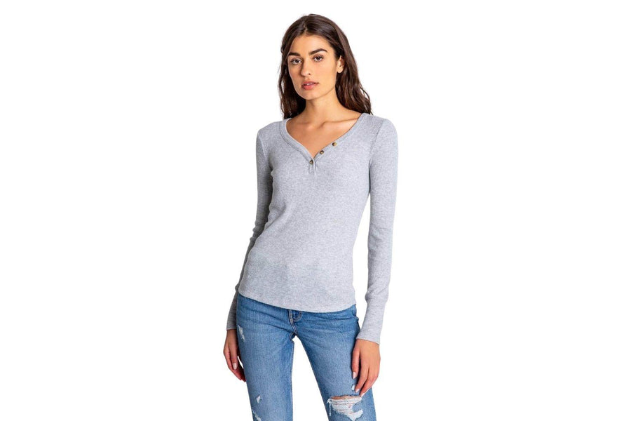 Pj Salvage Textured Basic Long Sleeve in Heather Grey