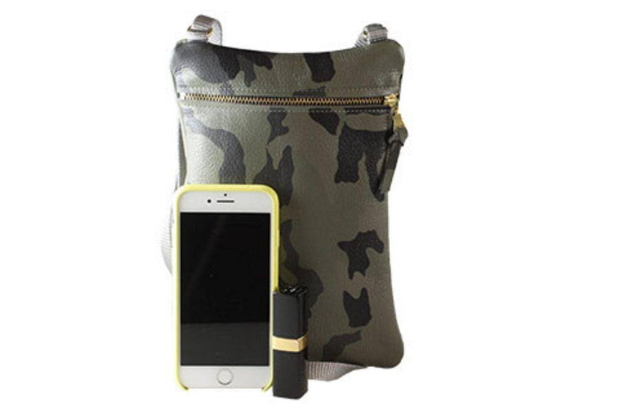 The Aurora Leather Bag in Green Camo