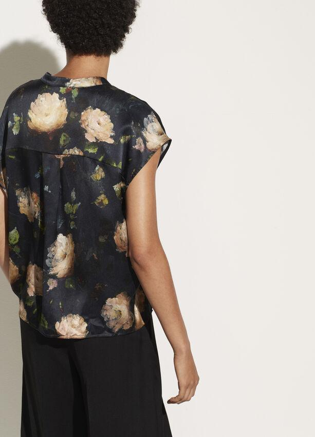 Vince Painted Rose Satin Silk Popover Blouse