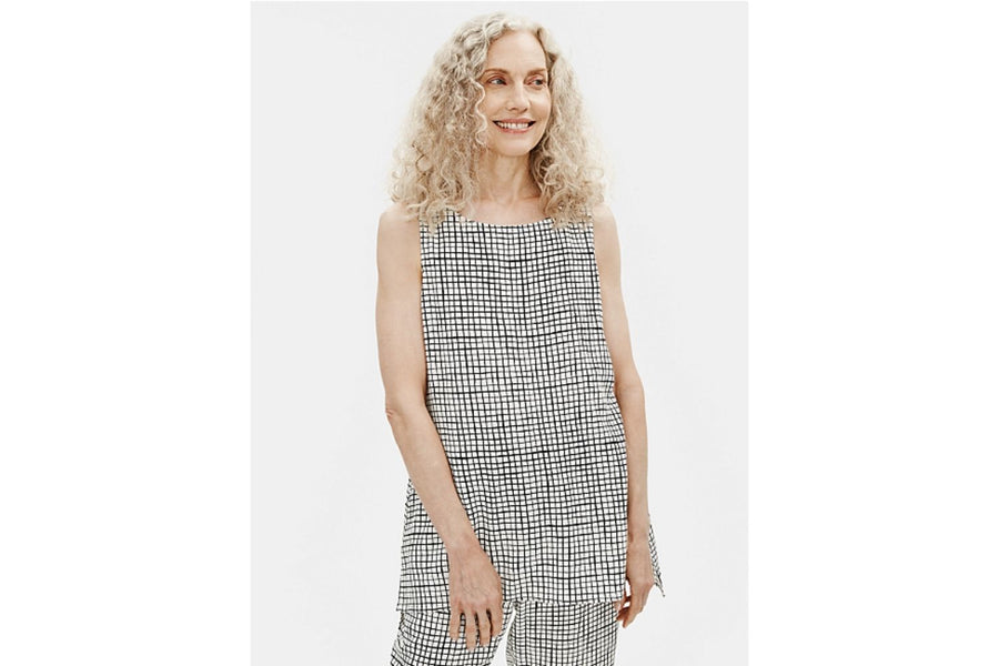 Eileen Fisher Textured Crepe Grid Long Shell Top