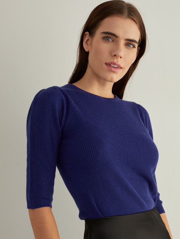 Autumn Cashmere Puff Sleeve Sweater in Cobalt