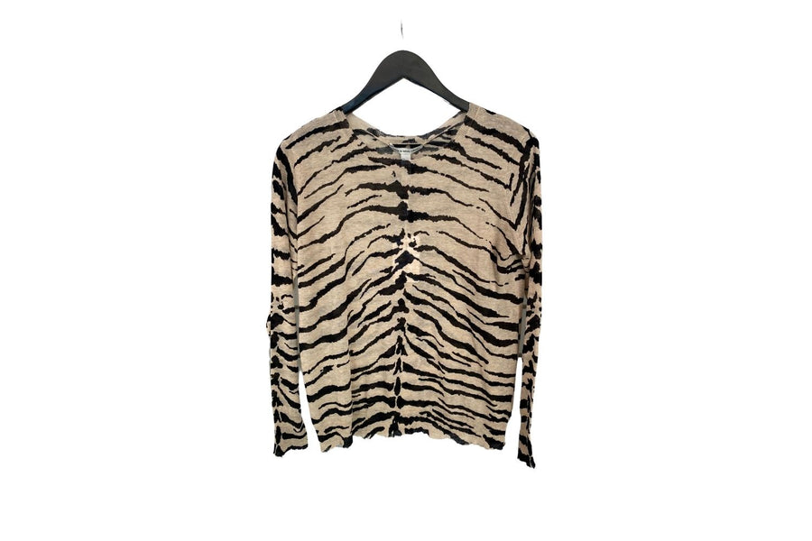 Autumn Cashmere Distress Tiger Stripe Top