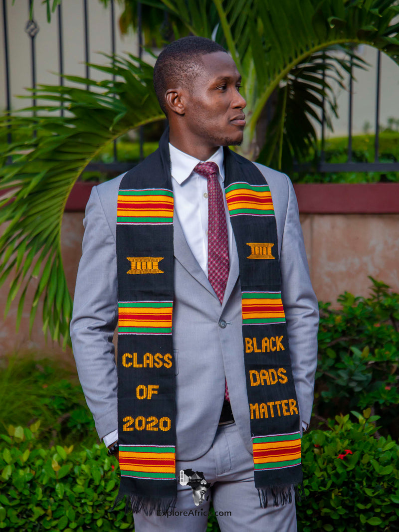 African Clothing - African Kente Graduation Stole that celebrates African and Black Dads who have graduated