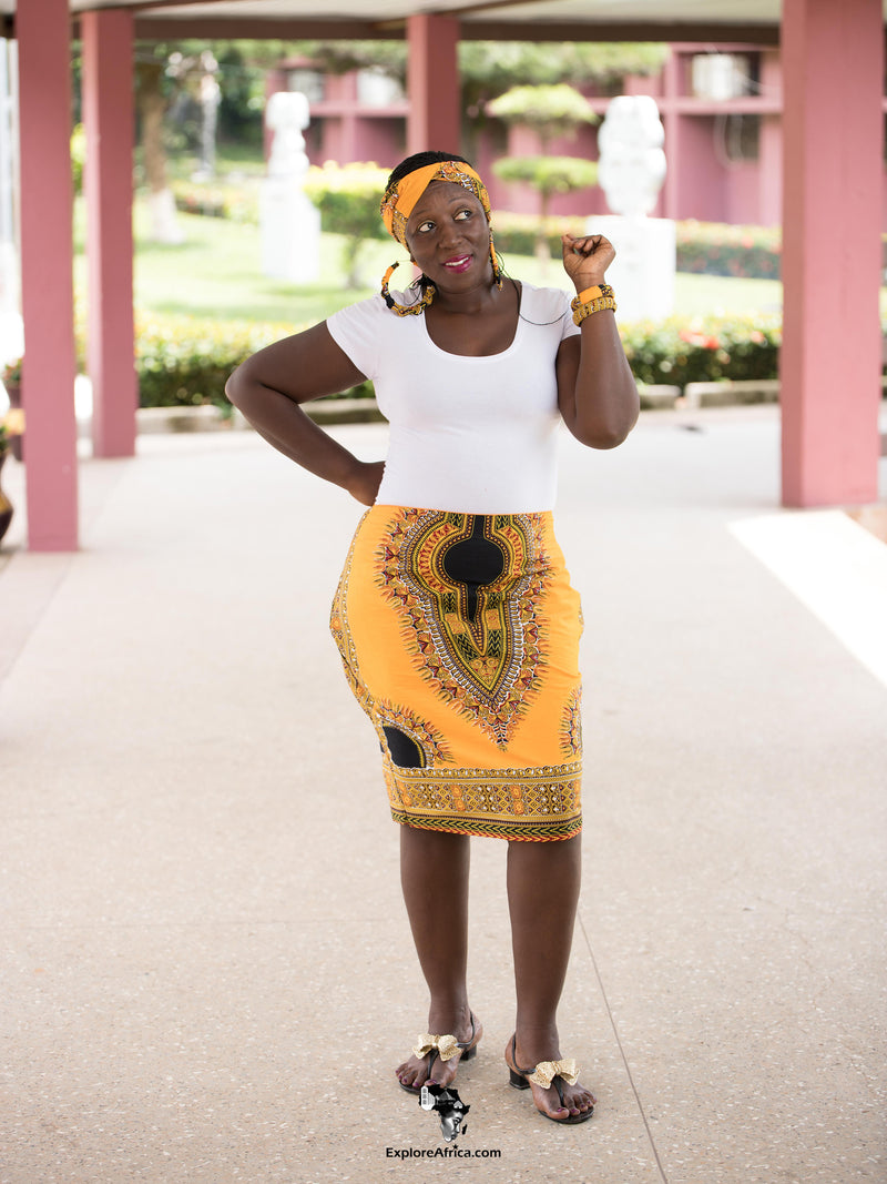 African Clothing: African Dashiki Skirt and Accessories