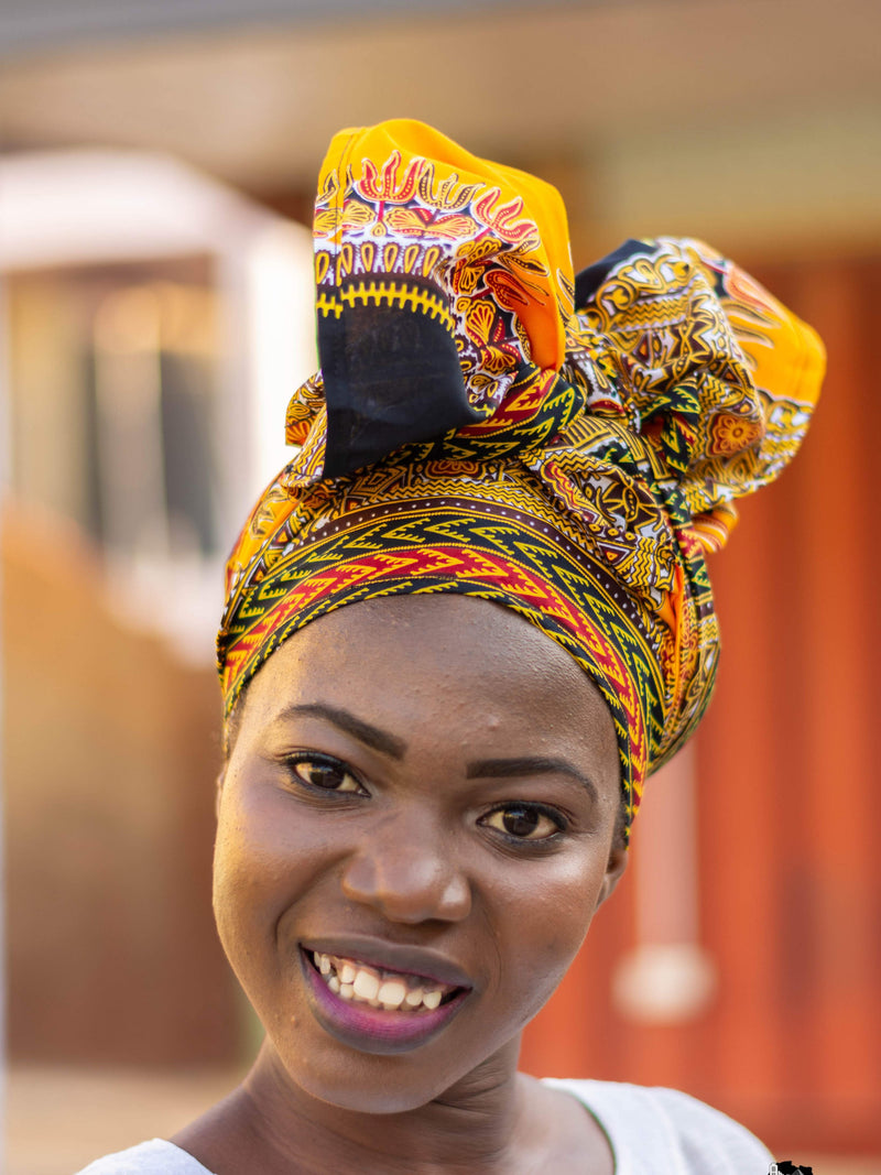 Maame Black and Orange African Print Dashiki Head Wrap