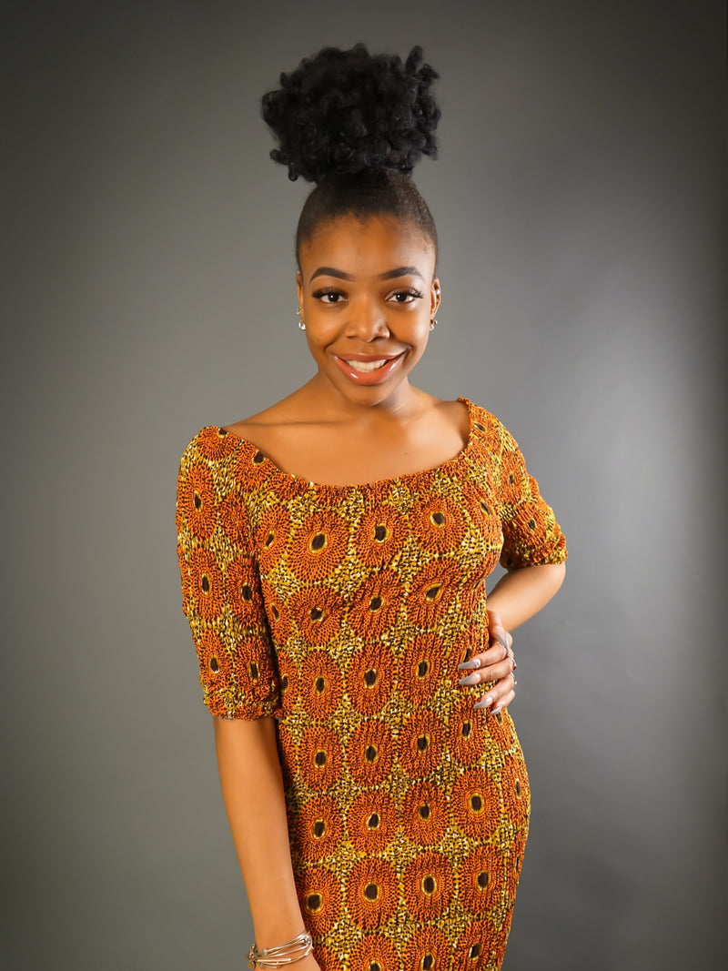 Red Nsubura African Print Elastic Off-The-Shoulder Dress