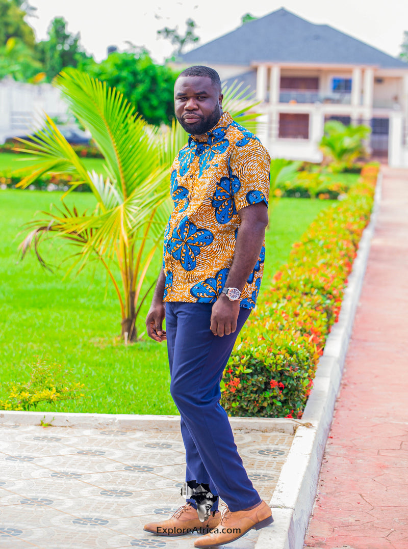 ExploreAfrica - African Print Men Shirt - African Clothing