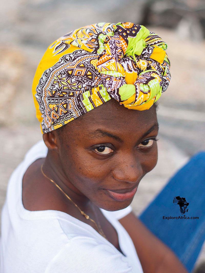 Adinkra Yellow African Print - Head Wrap and XL Earrings