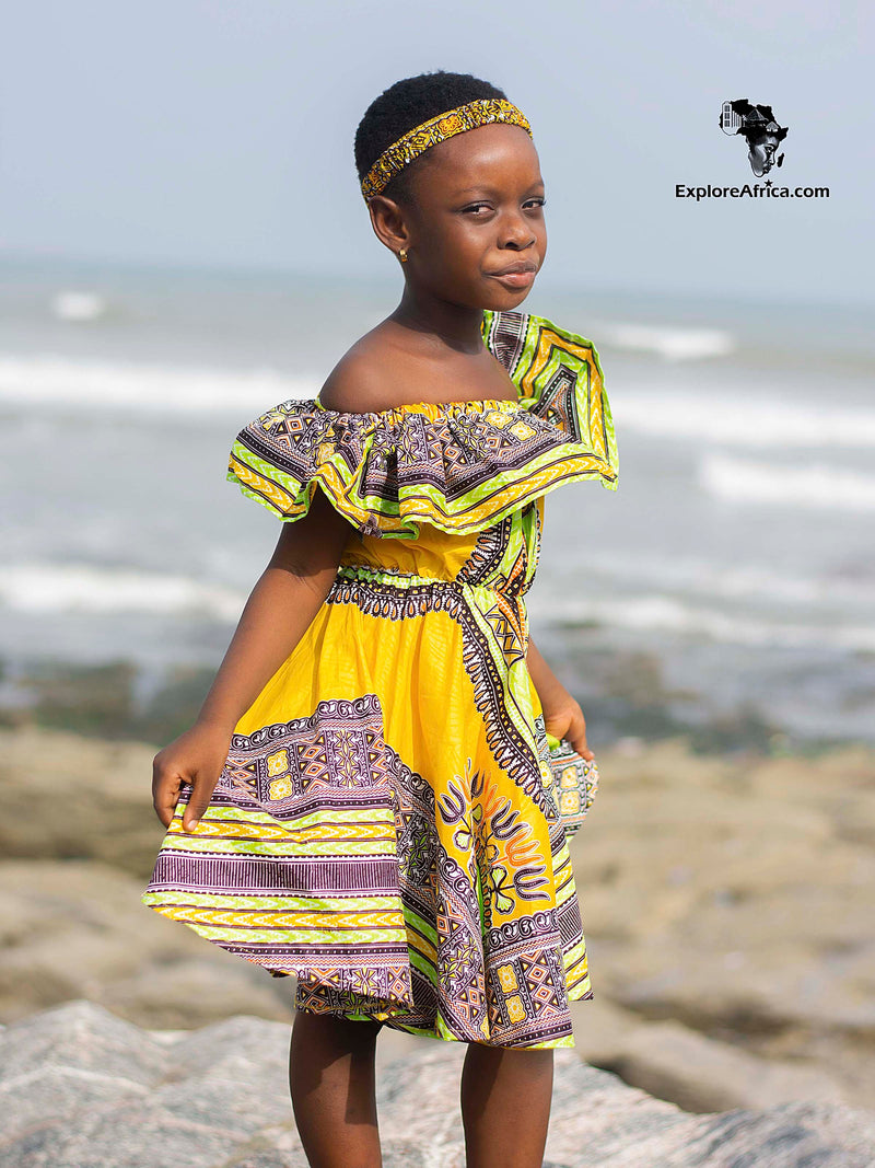Amoatemaa Girl's Blue African Ankara Print Dress
