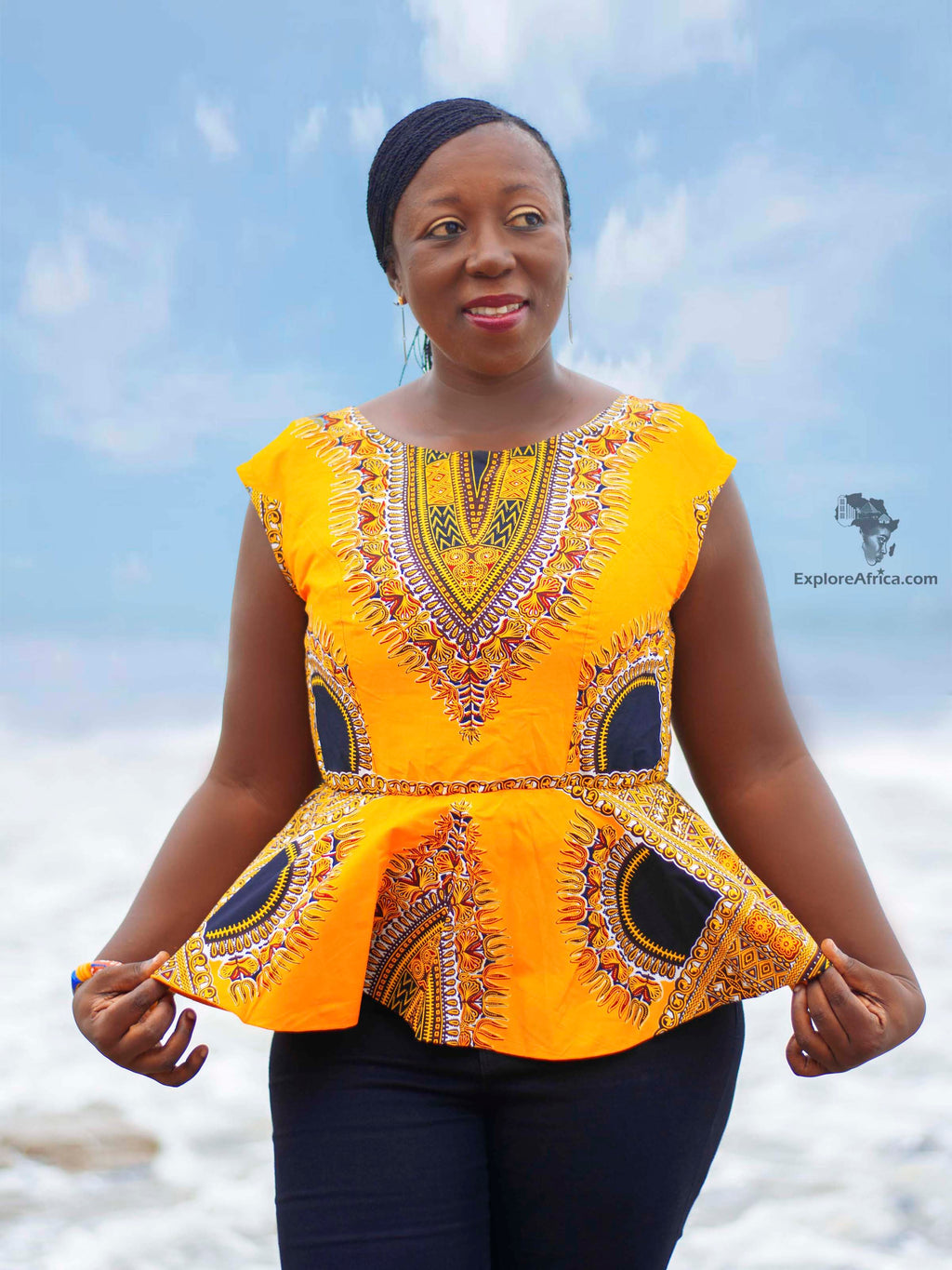 Owusu Black and Orange African Print (Dashiki) Top