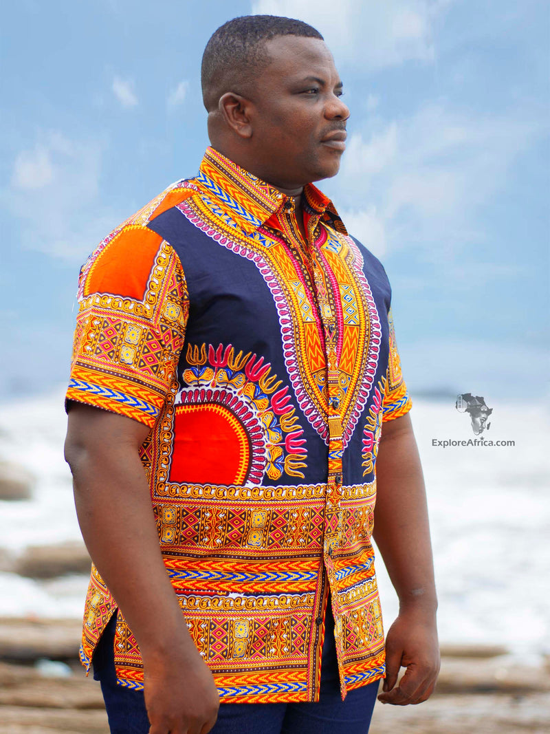 Opoku Modern African Print Shirt- Black with Kente Trims