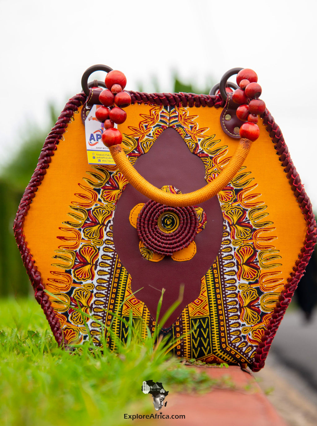 Explore Africa - African Orange Dashiki Handbag