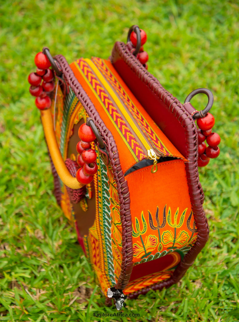 African Dashiki Handbag -  African Orange Dashiki Print - 3C