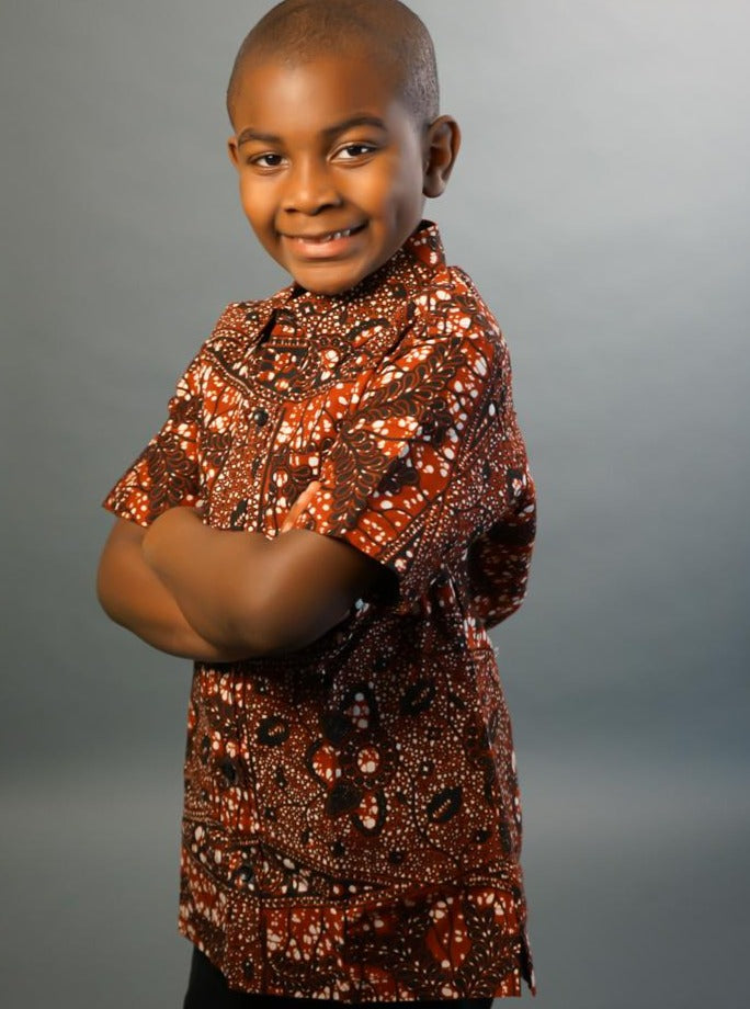 Darkoaa African Girl's Brown Ankara Dress