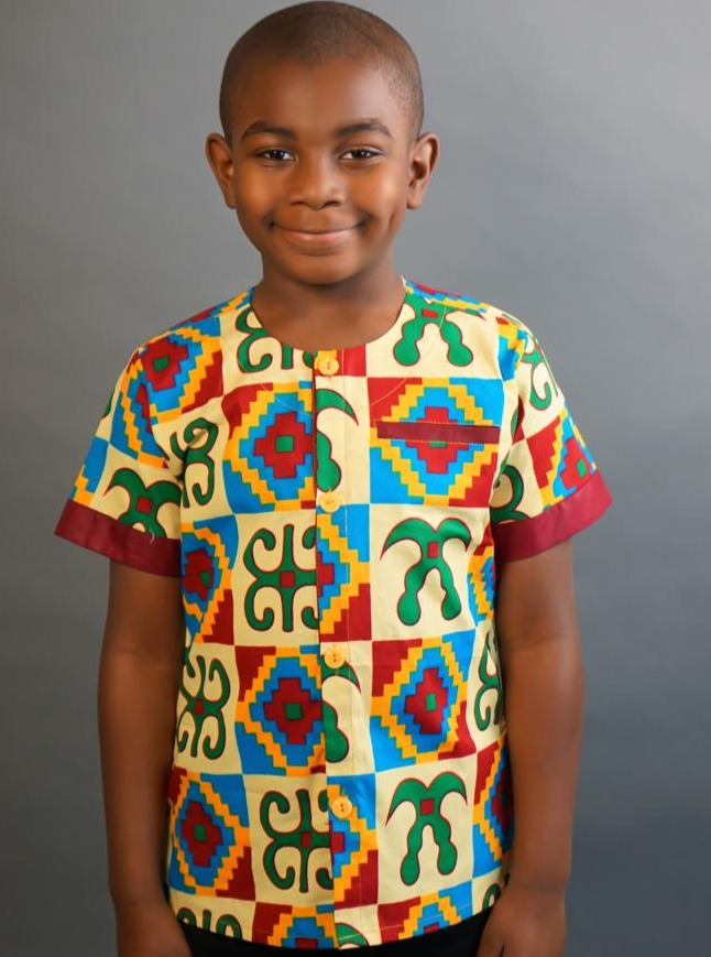 Opoku Modern Ankara Black African short-sleeved shirt
