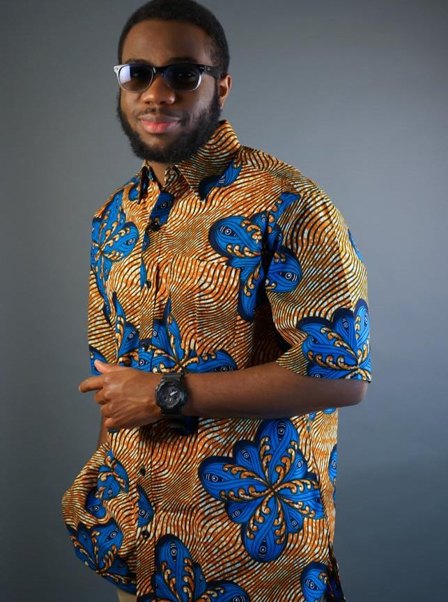Opoku African Print Shirt with Green Trims