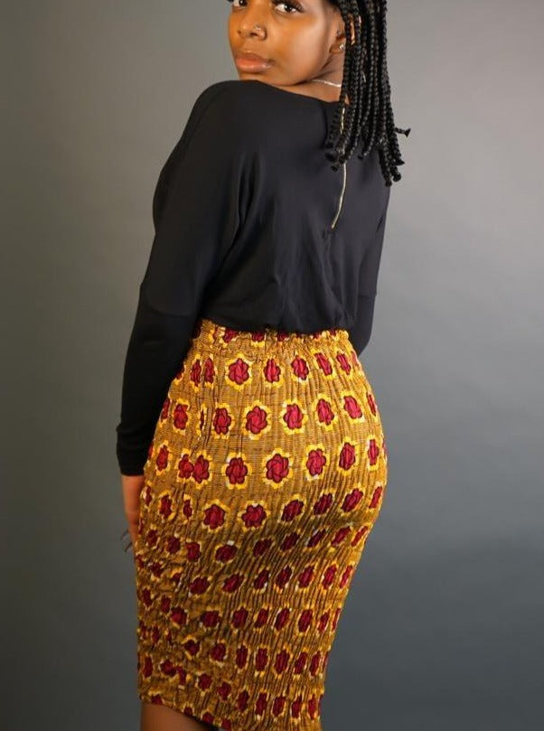 Ahaban African Plus Size Midi Skirt- Plus Size Skirt Only